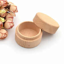 Mini Round Wooden Wedding Ring Jewelry Trinket Box Wood Storage Container Case