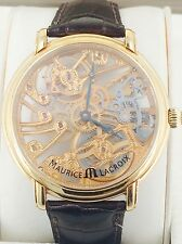 Maurice Lacroix Leather Strap Men's 18K Gold Skeleton Watch
