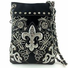 Western Cowgirl Black Fleur de lis Cross Body Hipster Small Messenger Bag Purse