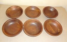 Set of 6 Vintage Turned Walnut Individual Salad Bowls - 7 Inches in Diameter