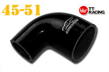 "4 Ply Silicone 90 Degree Reducer Elbow Joiner Hose 45mm - 51mm 1.75"" 2"" Black"