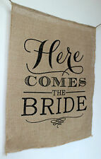 'Here Comes The Bride' Burlap Hessian Banner for Wedding ~ Flower Girl Sign