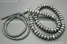 Hematite Gemstone Rondelle Spacer Beads 2mm 3mm 4mm 6mm 8mm Smooth Faceted 16''