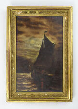 Antique 1800's Oil On Canvas Gold Molding Framed Painting Ocean Sail Boat Art