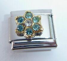 BLUE / TURQUOISE FLOWER GEM Italian Charm December Birthstone 9mm Classic Size