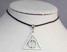 Harry Potter The Deathly Hallows Pendant Necklace Black Genuine Leather Cord