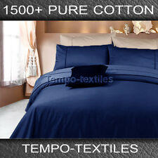 New Arri KB 1500TC Egyptian Cotton Fitted Flat Sheets Pillowcases Set Navy