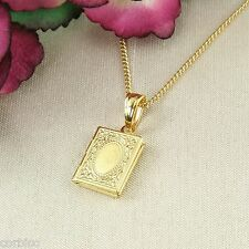 N1 Small 18K Gold Plated Allah Koran Locket Pendant Necklace - Gift Boxed