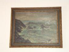 ORG PAINTING / BOARD NORMANDY SEASCAPE WATER SCENE 1910