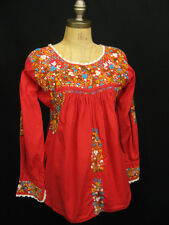 Vintage Red Boho 70's Mexican Oaxacan Embroidered  Boho Hippie Cotton Top XS