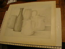 JAN STEELE, drawing: pencil: STILL LIFE: jugs, bottle