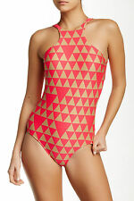 Seafolly One Piece AU 8 Swimsuit Costa Maya High Neck Maillot Red Hot