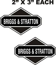 "2-BRIGGS STRATTON VINYL DECALS-STICKERS WHITE ON BLACK 2"" X 3"" EACH"
