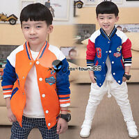 2016 Spring Child Kids Baby Boy Letter A/G Baseball Hooded Coat Jackets 2-7Y