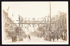 RPPC Real Photo Postcard Skegness Battle Flowers banner above high street 1905