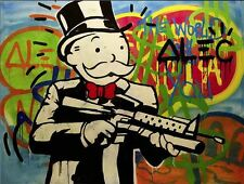 Alec Monopoly Abstract Hand Painted HUGE Oil Painting on CANVAS Gun Man 24x26""
