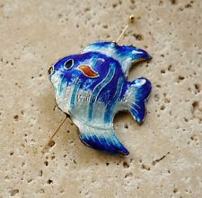 Fish Cloisonne Charm Bead With Hole Drilled Blue Silver Gold Enamel 34 MM