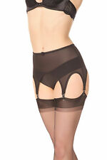 Retro Garter Powermesh 6 Suspender belt with Metal Clips. Size XXL