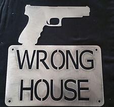 Wrong Home Gun WE DON'T DIAL 911 Pistol Guns Wall Hanging Sign Thief Danger