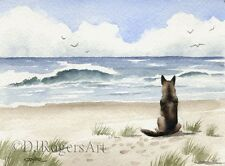 GERMAN SHEPHERD Watercolor DOG 8 x 10 Art Print Signed by Artist DJR
