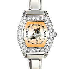 Old English Bulldog CZ Ladies Stainless Steel Italian Charms Wrist Watch BJ1024