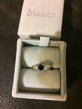 Stauer Cielo Scienza Sapphire Sterling Silver Ring Size 7