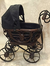 "MINIATURE 10"" X 9"" ANTIQUE  DOLL BUGGY / CARRIAGE METAL, WOOD, CANVAS , RATTAN.."