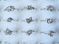 Wholesale Jewelry 30pcs Mix Lots Rhinestone Silver Plated Rings Free shipping