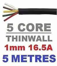 5 CORE AUTO CABLE 1.0mm 16.5 AMP CAR WIRE 5 METRES MULTICORE THINWALL 1MM  5M
