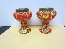 Fab. Pair Of Deco Czech Glass End of Day Vase with Brass Frog Red Yellow c.1930