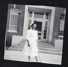Old Vintage Antique Photograph African American Nurse Standing By Building