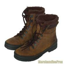 MEN'S SKECHERS BROWN LEATHER BOOT BOOTS WITH FAUX FUR ANKLE LINING 10.5M NEW!