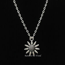Gorgeous Sunflower Flower Charm Pendant Silver Link Necklace Chain
