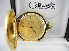 COLIBRI  SWISS GOLDTONE GOLD FACE  POCKET WATCH/ DATE NEW