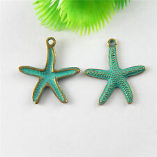 51656 Green Bronze Tiny Starfish Shaped Pendants Charms  Findings Crafts 29pcs
