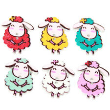 50pcs Hot Sale Mixed Color Cartoon Sheep Animal Wooden Buttons Fit Sewing DIY LC