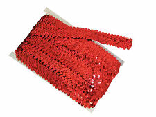 Stretch Sequin Trim Red (10m) 3 Row  | Best Price on Ebay | Red Strung Sequins