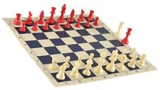 "Red & White Chess Pieces & 20"" Navy Blue Board - Single Weighted Chess Set"
