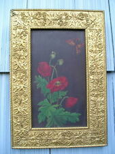 Rare Antique Aesthetic Eastlake Victorian Grape Leaf  Berry Picture Frame Poppy