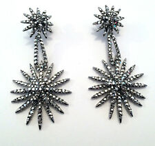Butler and Wilson Silver Crystal Starburst Earrings NEW