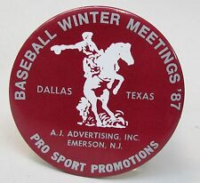 rare 1987 BASEBALL WINTER MEETINGS Dallas Texas celluloid pinback button