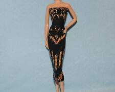 SEXY! Brown on Black Abstract Print UNIQUE Party Dress for BARBIE Clothes F1