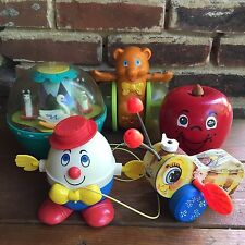 Fisher Price Vintage Toy Lot Roly Poly Chime Ball Apple Bear Humpty Buzzy Bee