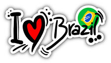 I Love Brazil Slogan Car Bumper Sticker Decal 6'' x 3''