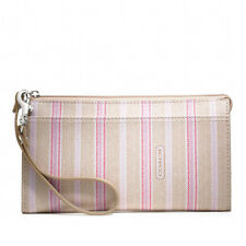 NWT Coach Legacy Weekend Ticking Stripe Zippy Wallet Wristlet 49316 S/Khaki Pink