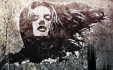 girl face wall decor painting Street Art stencil Poster Print for glass frame