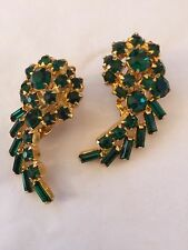 Vtg 1960's Signed Weiss Green RS Earrings Clip On Prong Set Baguette & Rd Stones