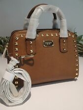 1MICHAEL KORS SAFFIANO STUD SMALL SATCHEL LEATHER TOTE BAG LUGGAGE BROWN $298