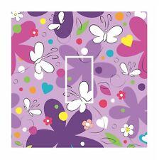 Cute PURPLE Kids Butterfly & Flowers Light Switch Vinyl Sticker Cover Skin Decal