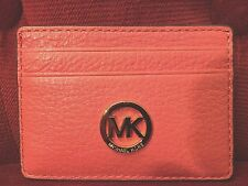 NWT MICHAEL KORS FULTON PEBBLED LEATHER CARD HOLDER IN WATERMELON